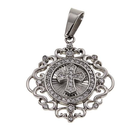 Michael Anthony Jewelry® CZ Cross Scrollwork Stainless Steel Pendant