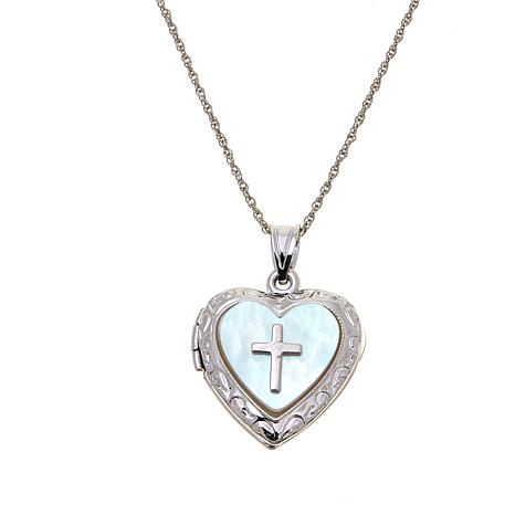 Michael Anthony Jewelry® Mother-of-Pearl Cross Heart Locket with Chain