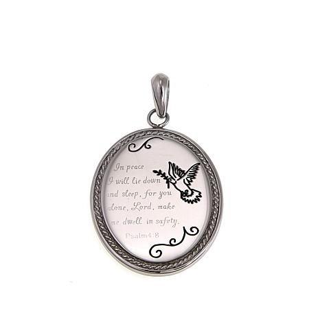 Michael Anthony Jewelry® Oval Dove Prayer Stainless Steel Pendant