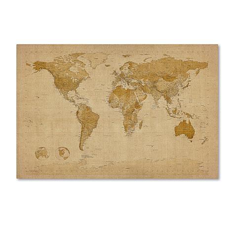 """Michael Tompsett """"Antique World Map"""" Art - 30"""" x 47"""""""
