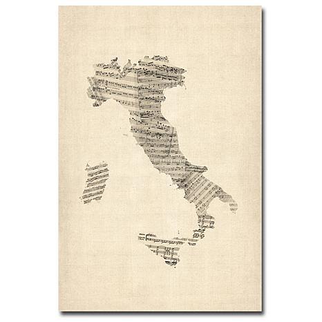 "Michael Tompsett ""Italy-Old Sheet Music Map"" - 30""x47"""