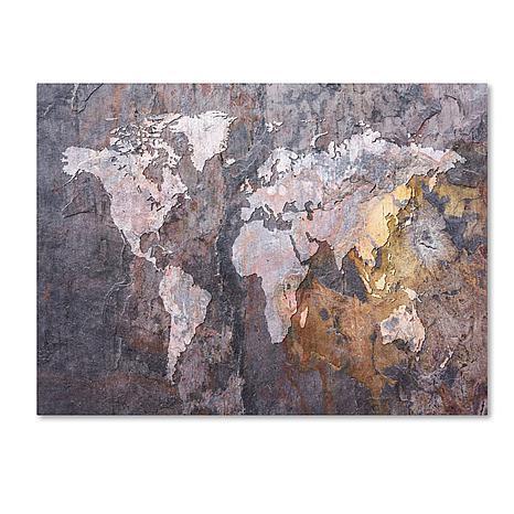 "Michael Tompsett ""World Map - Rock"" Canvas - 35"" x 47"""