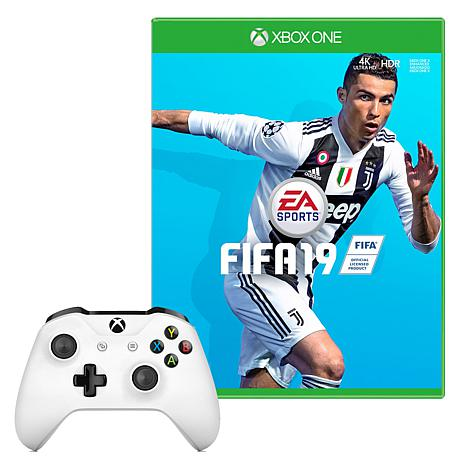 "Microsoft Xbox One S White Controller with ""FIFA 19"" Game"