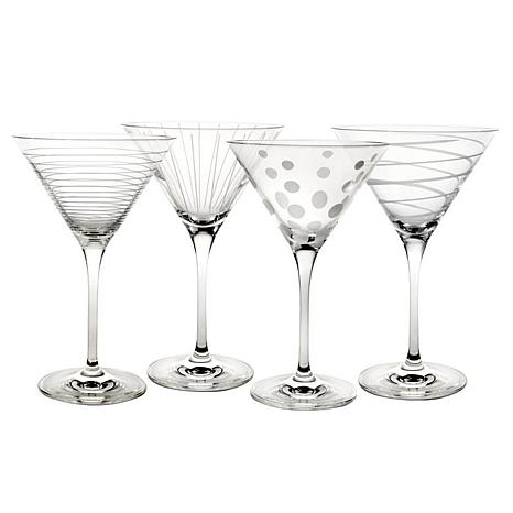 Mikasa Cheers Set of 4 Etched-Crystal Martini Glasses
