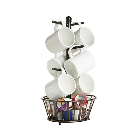 Mikasa Gourmet Basics 6 Mug Tree With Bottom Basket