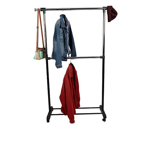 Mind Reader Black Adjustable 2-Tier Garment Rack