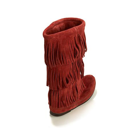 Minnetonka 3-Layer Suede Fringe Boot - 8099467 | HSN