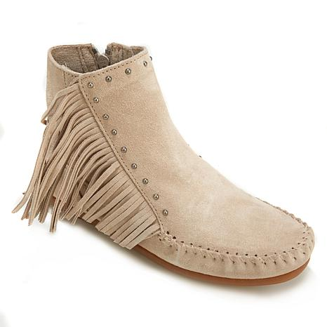 Minnetonka Fringe Suede Ankle Boot with Stud Detail - 8081672 | HSN