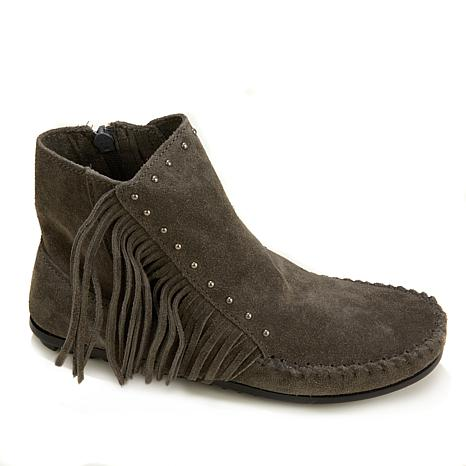 Minnetonka Fringe Suede Ankle Boot with Stud Detail - 8081672   HSN