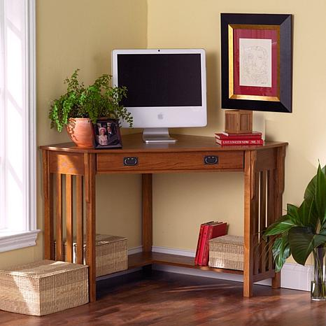 oak corner computer desk 6408542 hsn. Black Bedroom Furniture Sets. Home Design Ideas