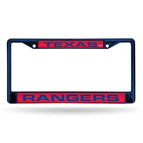 MLB Colored Laser-Cut Chrome License Plate Frame -  Rangers