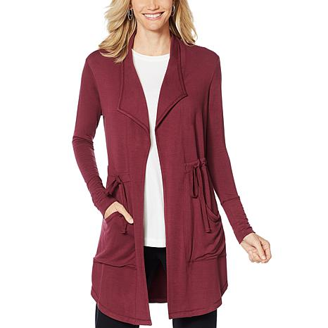 ModernSoul® Luxe French Terry Tie-Front Jacket with Pockets