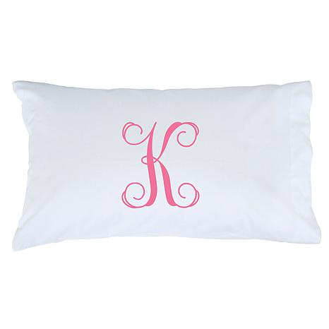 Monogrammed Single-Initial Pillowcase - Pink