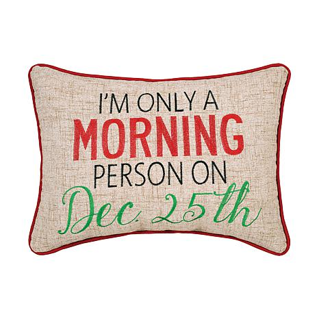 Morning Person Embroidered Pillow