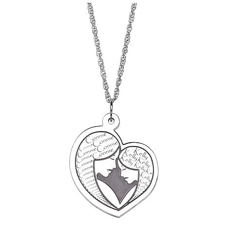 Sterling Silver Mother Daughter Embrace Engraved Necklace