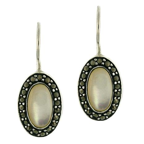Mother-of-Pearl and Marcasite Drop Earrings