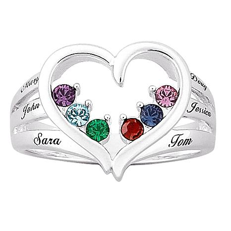 Mother's Birthstone Silvertone Heart Name Ring