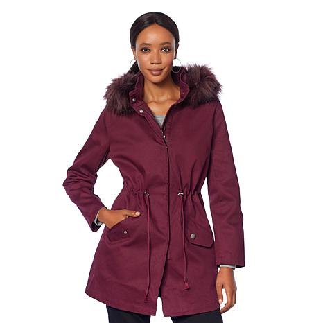 Motto Anorak Coat with Removable Faux Fur Lining