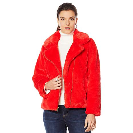 Motto Faux Fur Moto Jacket with Pockets