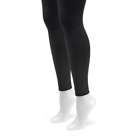 MUK LUKS Women's 2-pack Fleece-Lined Footless Tights