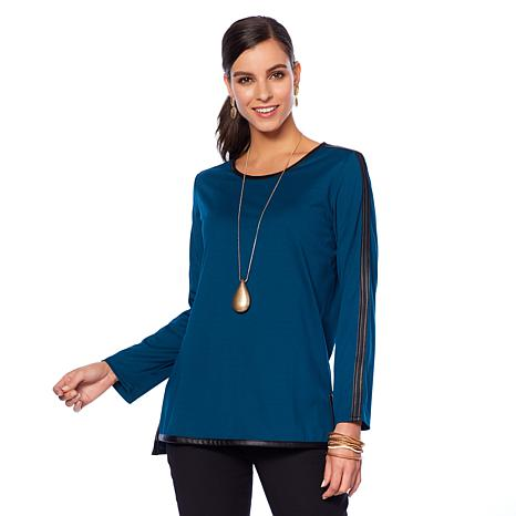 N Natori Long-Sleeve Double Knit Top with Faux Leather Trim