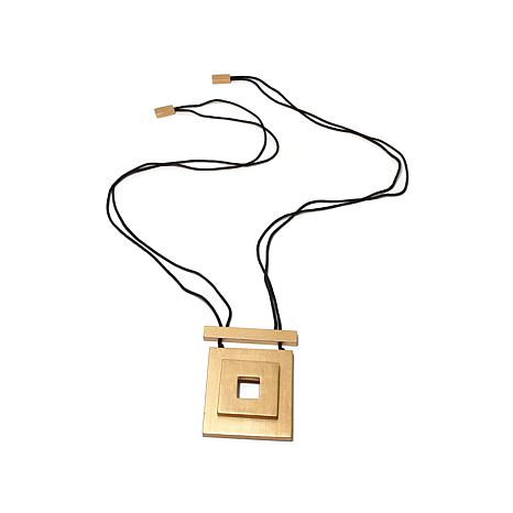 N Natori Painted Acacia Wood Square Drop Necklace
