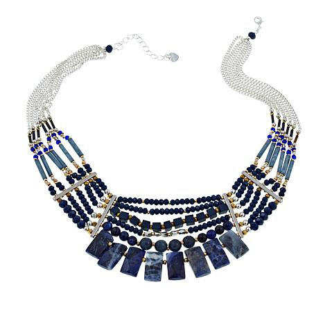 "Nakamol Simulated Lapis and Mixed Bead 17-1/2"" Bib Necklace"