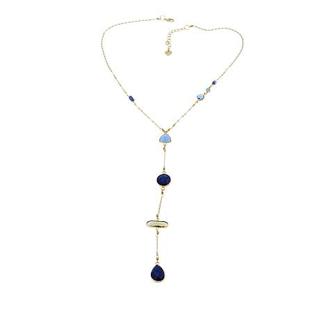"""Nakamol Simulated Lapis and Mixed Bead 19-1/2"""" Y-Necklace"""