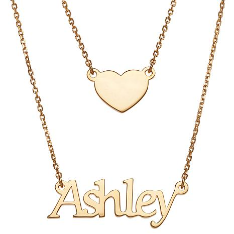 Name and Heart Layered Double Necklace