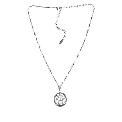 "Natalie Mills ""Bridget"" Silvertone Oval Pendant with 18"" Chain"