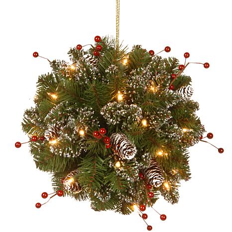 "National Tree 12"" Glittery Mountain Spruce Kissing Ball with 35 Lights"