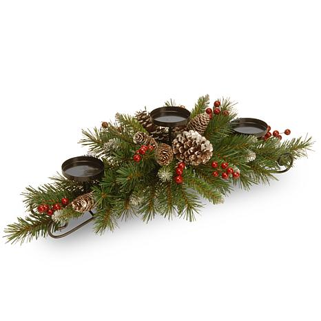 """National Tree 30"""" Frosted Berry Centerpiece with 3 Candle Holders"""