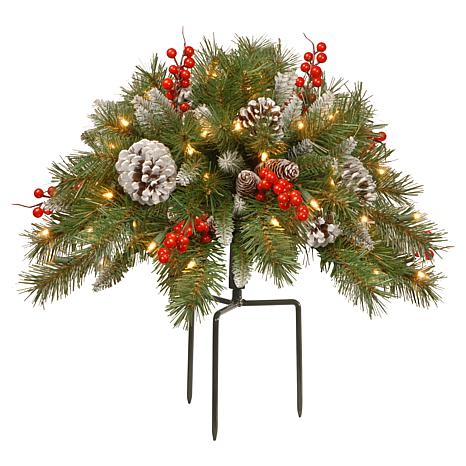 National Tree Frosted Berry Urn Filler with 35 Warm White Lights