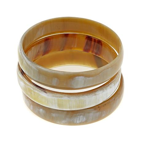 Natural Beauties 3 Piece Buffalo Horn Bangle Bracelet Set