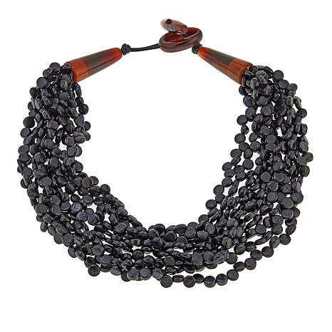 "Natural Beauties Black Coconut Shell and Buffalo Horn 21"" Necklace"