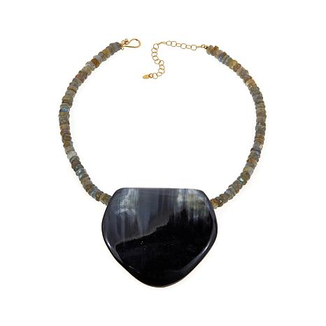 Natural Beauties Black Horn Pendant with Necklace