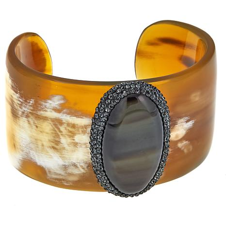 Natural Beauties Buffalo Horn and Crystal Cuff Bracelet