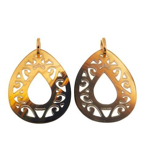 Natural Beauties Pear-Shape Brown Buffalo Horn Earrings
