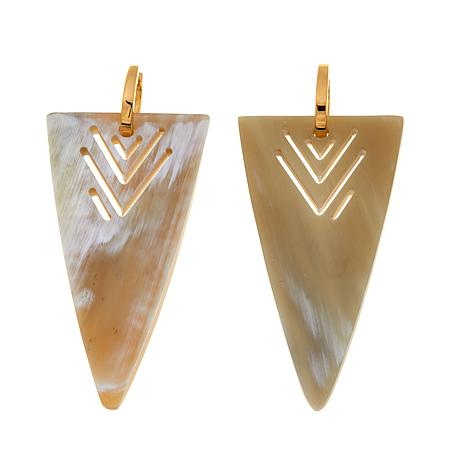 Natural Beauties Triangular Buffalo Horn Drop Earrings