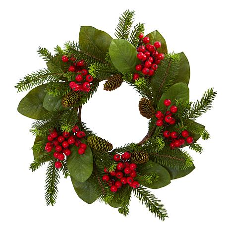 """Nearly Natural 19"""" Magnolia Leaf, Berry & Pine Artificial Wreath"""