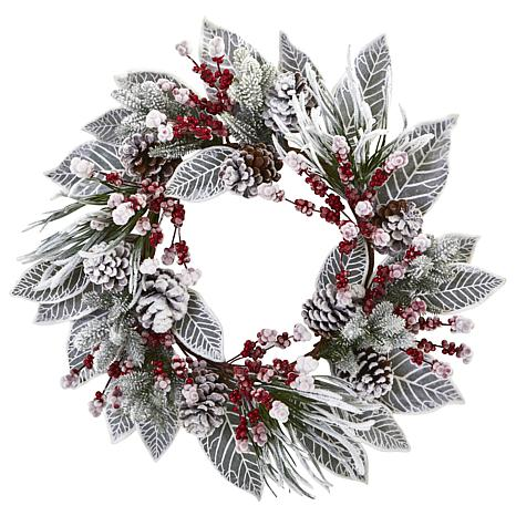 """Nearly Natural 24"""" Snowy Magnolia Berry Artificial Wreath"""