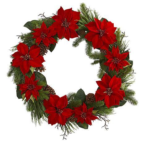"Nearly Natural 36"" Poinsettia & Pine Wreath"