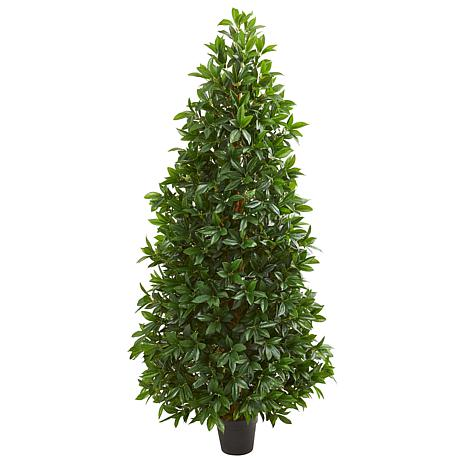 Nearly Natural 5 ft. Artificial Bay Leaf Cone Topiary Tree