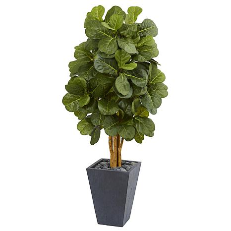 Nearly Natural 5.5 ft. Fiddle Leaf Artificial Tree in Slate Planter