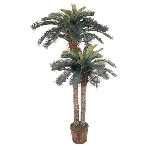 Nearly Natural 6' and 4' Double Potted Sago Palm Silk Tree