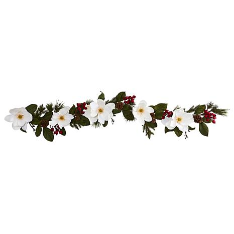 Nearly Natural 6-Ft. Magnolia, Pine & Berries Artificial Garland