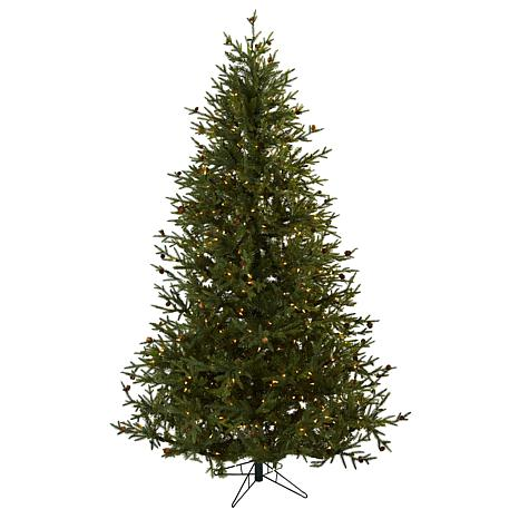 Nearly Natural 7.5-Ft. Classic Pine & Pine Cone Christmas Tree