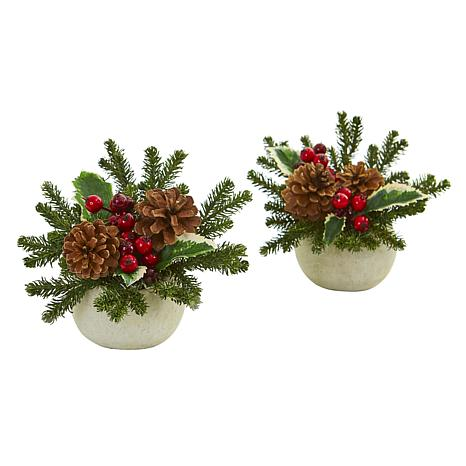 Nearly Natural Holiday Artificial Arrangement in Ceramic Vase Set of 2