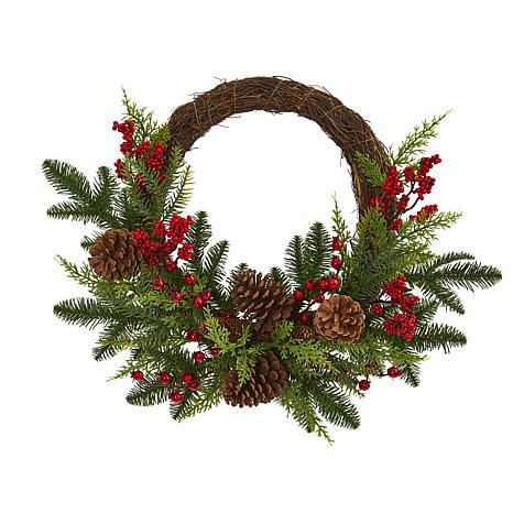 Nearly Natural Pine & Cedar w/Berries & Pine Cones Artificial Wreath