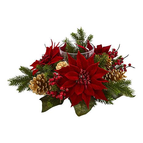 Nearly Natural Poinsettia, Berry & Golden Pine Cone Candelabrum